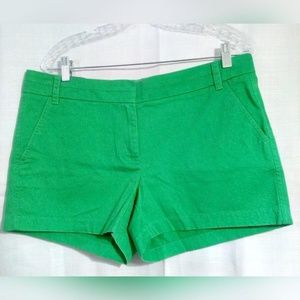 J Crew Sz 12 Shorts Chino Cotton Bright Green